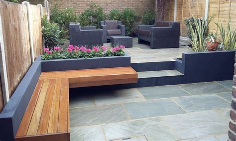 patio bed modern garden design sandstone paving patio
