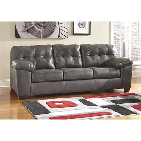 ashley furniture gray sofa ashley furniture alliston leather sofa in gray 2010238