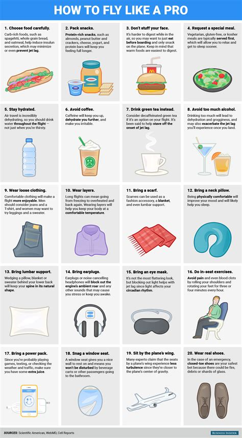 how to be comfortable on long flights infographic 20 useful tips to stay comfortable on long