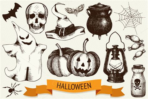 hand drawn halloween illustration illustrations on