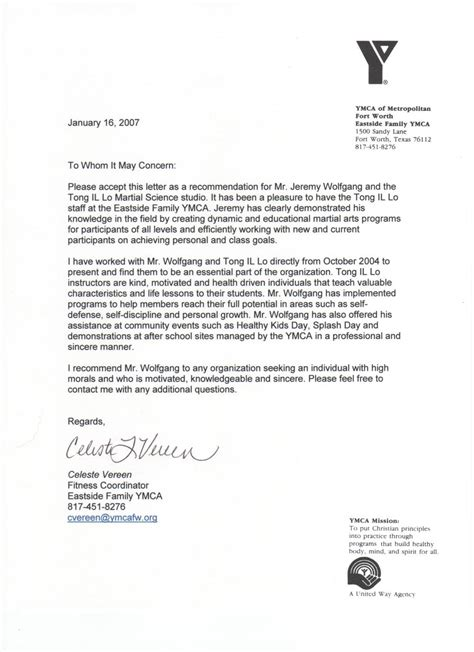 Financial Assistance Letter For Ymca Recommendation Letter Images Gallery