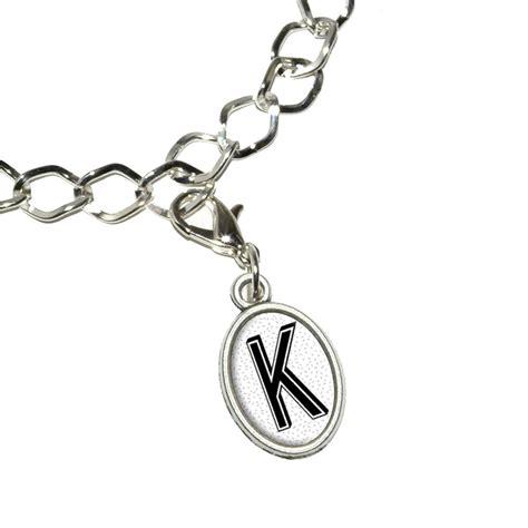 letter k initial sprinkles black white bracelet oval