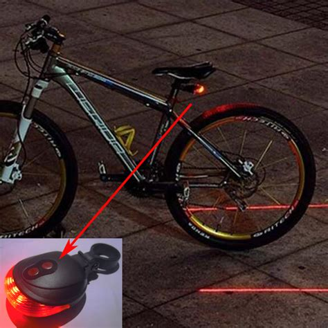 5 Led Bicycle Rear Light bicycle 5 led light 2 lasers mountain bike