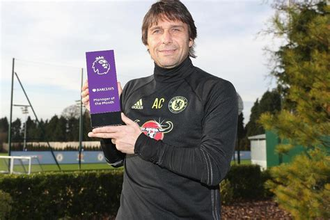 epl coach of the month conte voted barclays manager of the month
