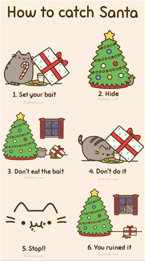 how to a not to cats pusheen cat teaches us how to not catch santa