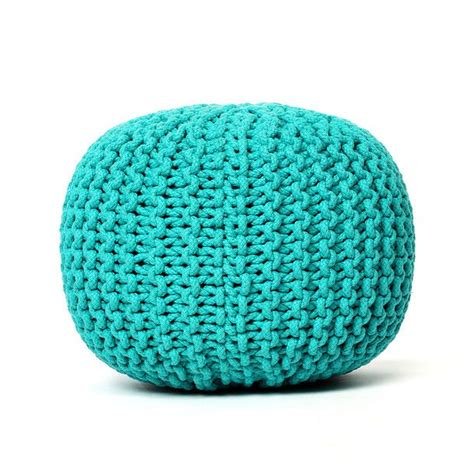 knitted pouf knitted pouf turquoise objects