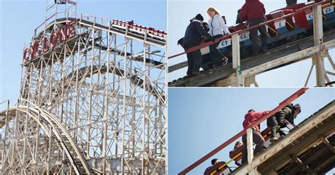 theme park ride breaks terrified theme park visitors forced to climb down from