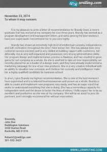 Business Letters Of Recommendation Exles Professional Business School Recommendation Letter Sle