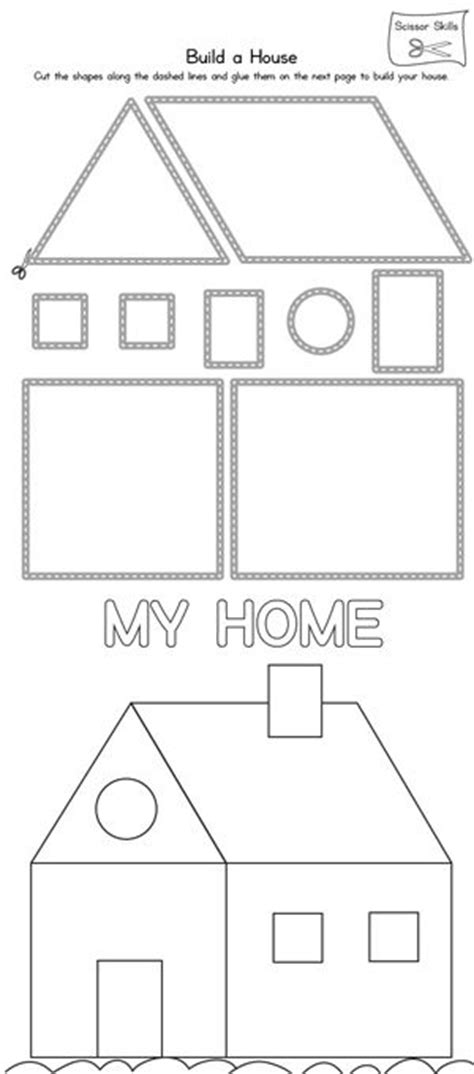 kindergarten activities my house house scissor practice printable worksheets infos and a