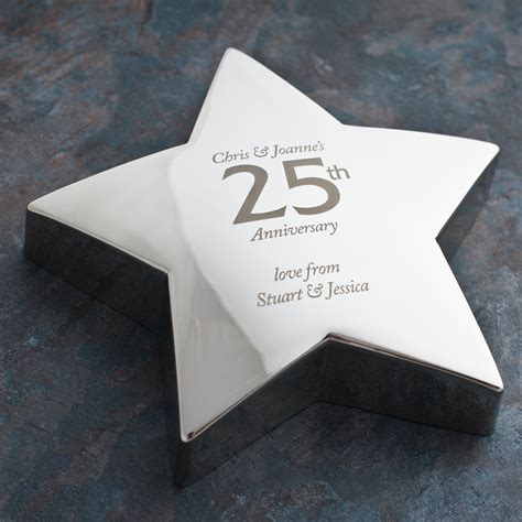 Wedding Anniversary Engraving Ideas by Engraved 25th Anniversary Silver Paperweight