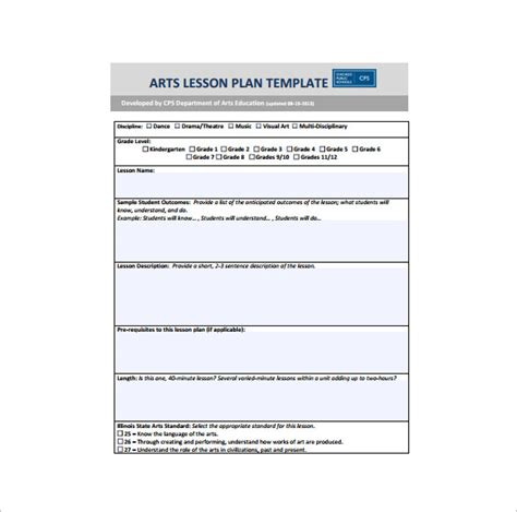 art lesson plan template 3 free word pdf documents