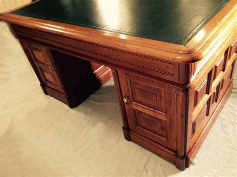 Antique Green Desk L by 9155 Antique American Cherry Partners Desk C1865