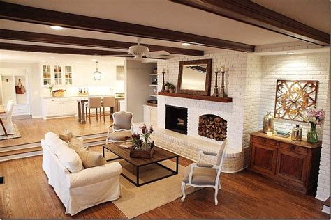joanna gaines painted brick ceiling beams white fan to blend into ceiling chairs