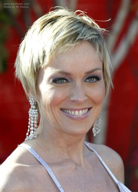 sharon stone new haircut sharon stone hair smooth short razor cut with length in