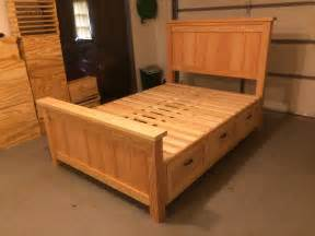 Build A King Size Platform Bed Frame by Ana White Farmhouse Storage Bed With Hidden Drawer Diy