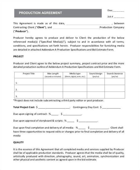production contract 5 production contract sles templates sle templates