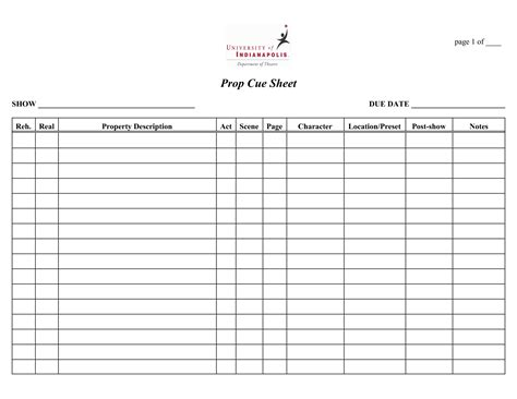 cue sheet template best photos of cue sheet template cue sheet