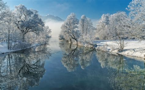indir duvar kagidi kis kar nehir kis manzara daglar