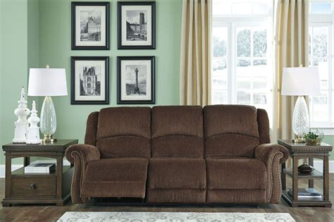 power reclining sofa with adjustable headrest goodlow chocolate power reclining sofa with adjustable