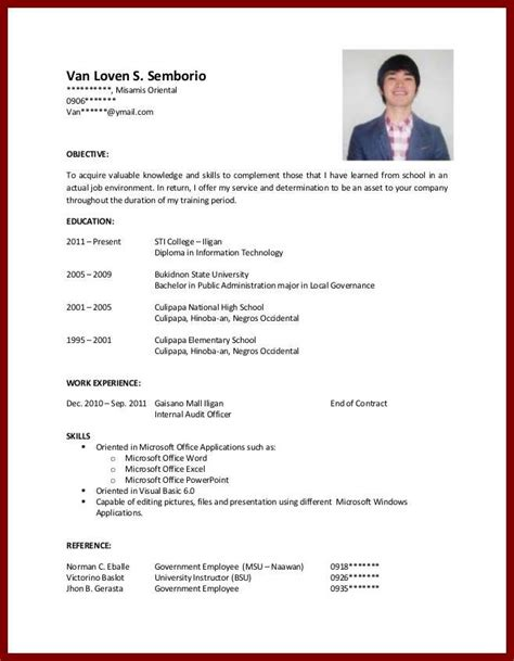 how to write a resume with no experience exle sle resume college student no experience best resume