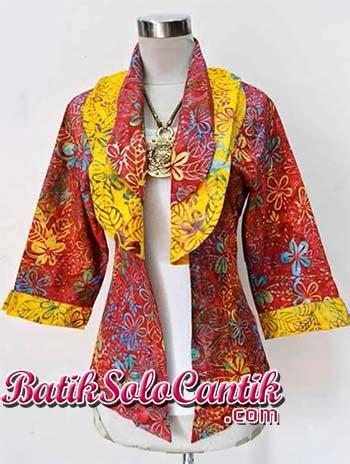 Blolero Batik Tulis F20216092 Cardigan Muslim Rompi Panjang Jumbo cardigan batik modern terbaru baju kerja batik