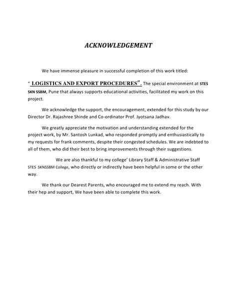 Acknowledgement Letter For Assignment Acknowledgement Exles For Assignment