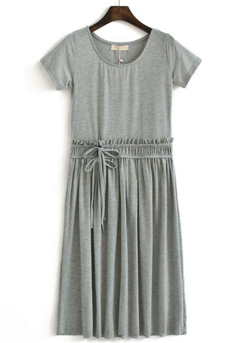 Grey Cotton Dress grey pleated drawstring neck cotton dress maxi