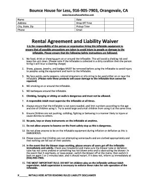 Fillable Bounce House Waiver Form Forms And Document Blanks To Submit Online Bounce House Waiver Template