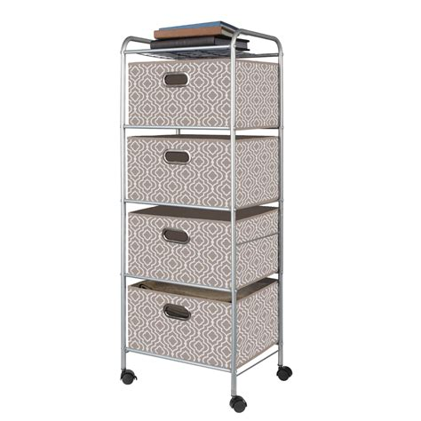 White Fabric Drawer by Bintopia 4 Drawer Fabric Storage Cart Lattice White