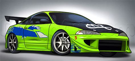 How To Draw A Mitsubishi Eclipse Step By Step Cars Draw