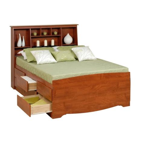 Queen Tall Bookcase High Platform Storage Bed In Cherry Cherry Bed