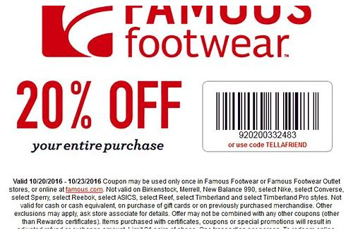 famous footwear coupons in store 2018