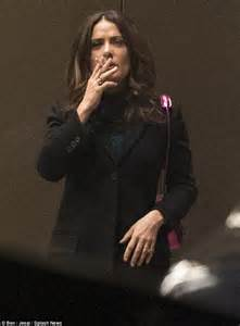 Salma Hayek Quits Habit Hollyscoop by Salma Hayek Gets Nicotine Fix With A Crafty Cigarette