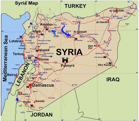 syria on map syria guide map syria mappery