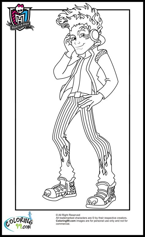free cartoon monster high for kids coloring pages printable for