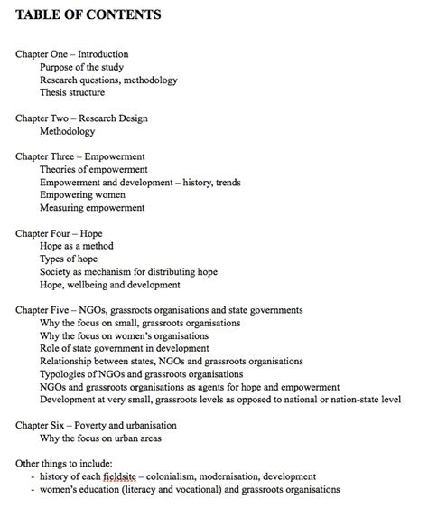 sle of table of contents in thesis planning and writing a thesis with a table of contents