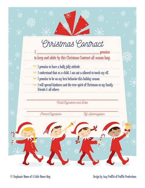 Printable Elf Contract | elf on the shelf arrival christmas contract a little moore