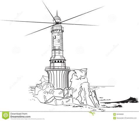 clipart bianco e nero faro in bianco e nero illustrazione vettoriale