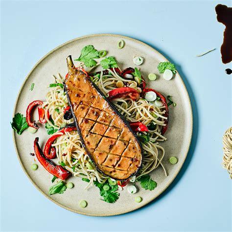 miso glazed aubergine  noodles recipe gousto