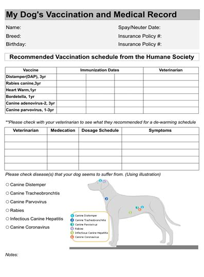printable puppy shot record chart dog puppy vaccination