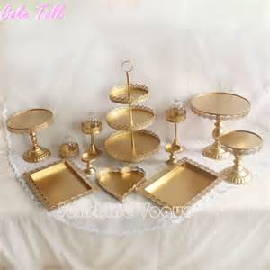 gold wedding cake stand set of 12 pieces gold cake stand wedding cupcake stand set glass dome bar