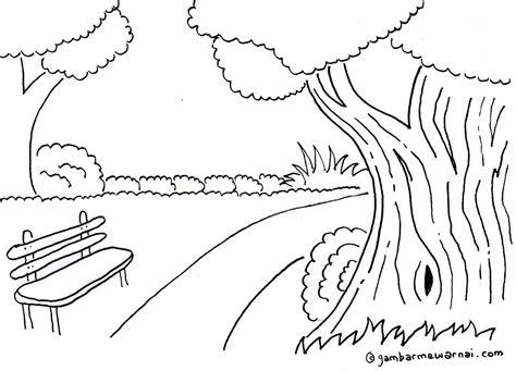 sketsa mewarnai pemandangan kebun raya gambar mewarnai