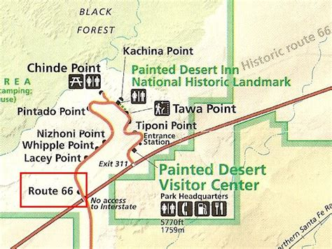 painted desert map route 66 memorial in petrified forest national park
