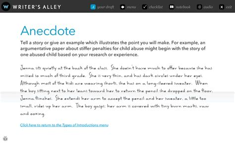 Exle Of Anecdote Essay by Writer S Alley Interactive Writing Tutorial Writer S Alley