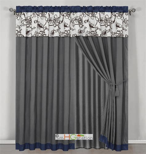 Blue Gray Curtains 4 Stripe Oasis Floral Garden Curtain Set Blue Gray Brown White Valance Drape Ebay