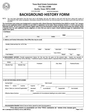 Trec Background Check 2012 Form Tx Bh 2 Fill Printable Fillable Blank Pdffiller