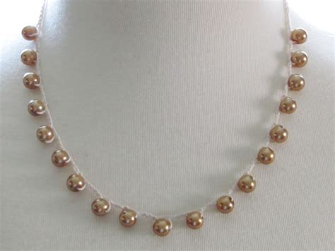 crochet necklace with crochet necklace gold pearl necklace by adornmentsbydebbie