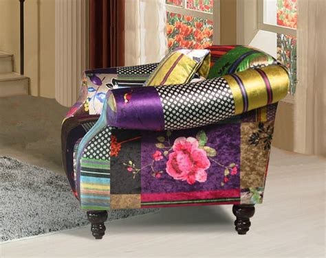 Patchwork Furniture Uk - shout 1 seater luxury fabric patchwork sofa