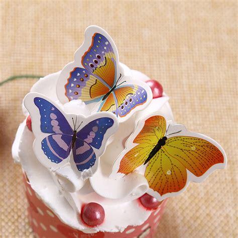 Cake Topper 50pcs 50pcs set cupcake toppers pvc butterfly wedding cake topper wedding cake stand decoration cake