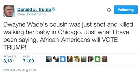 donald trump tweets trump tweets that blacks will vote for him after dwyane